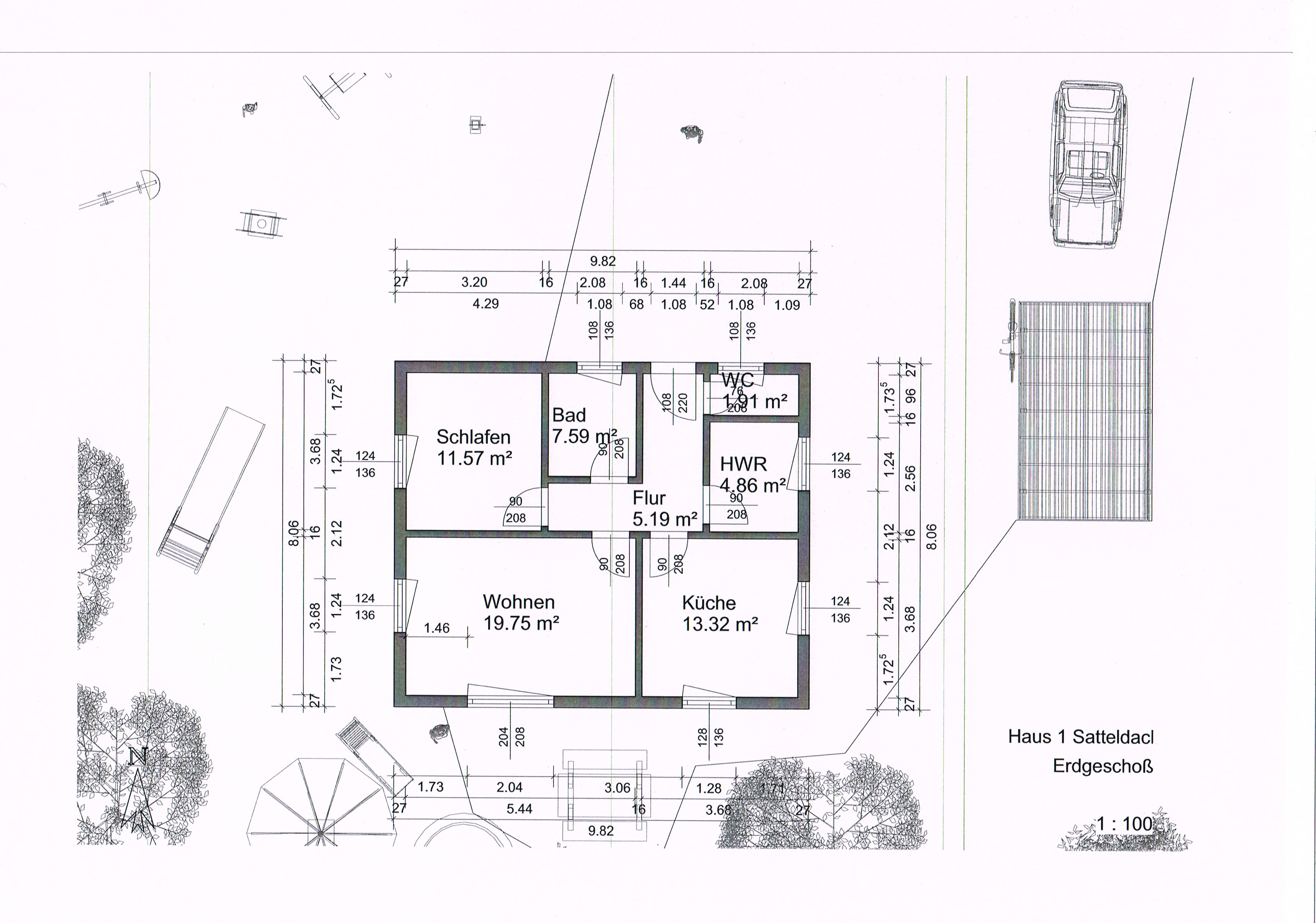Eine etage mit ausbaureserve im dachgeschoss nutzfläche gleich grundfläche ca 80qm minus
